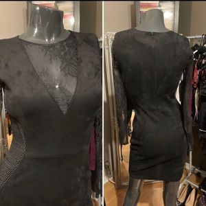📌Sexy brand new black suede/shear/lace dress